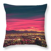 Early Morning Sunrise Over Valley Of Fire And Las Vegas Throw Pillow