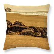 Early Morning Tybee Beach Throw Pillow
