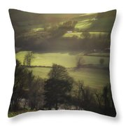 Early Morning Welsh Sheep Farming Throw Pillow