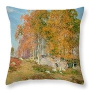 Early October Throw Pillow by Willard Leroy Metcalf