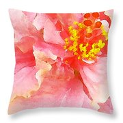 Early Pink Hibiscus Throw Pillow