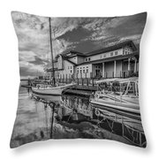 Early Sailing - Black And White Throw Pillow
