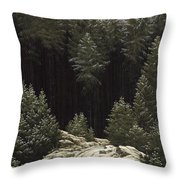 Early Snow Throw Pillow by Caspar David Friedrich