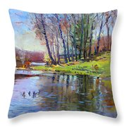 Early Spring In Bear Mountain Throw Pillow