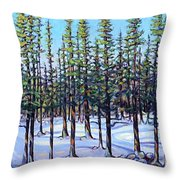 Early Spring, Trees In Training Throw Pillow