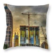 Early Start Skyscraper Construction Atlanta Georgia Art Throw Pillow