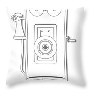 Early Telephone Line Drawing Throw Pillow