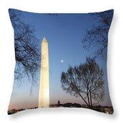 Early Washington Mornings - The Washington Monument Throw Pillow