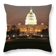 Early Washington Mornings - Us Capitol In The Spotlight Throw Pillow
