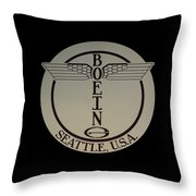 Early Winged Boeing Logo Throw Pillow