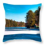 Early Winter On Old Forge Pond Throw Pillow