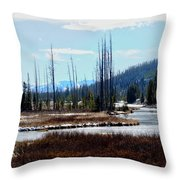 Early Winter On The Yellowstone Throw Pillow