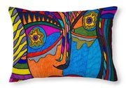 Earth And Aqua Mask - Abstract Face Throw Pillow