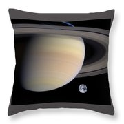 Earth From Sturn Throw Pillow by Artistic Panda