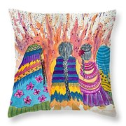 Earth Mothers - Feeding  The Fire Throw Pillow