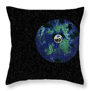 Earth To The Moon Throw Pillow