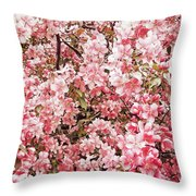 Earth Tones Apple Blossoms  Throw Pillow