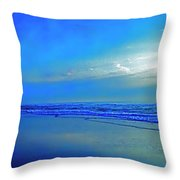 East Coast Florida Daytona Beach Morning Walkers   Throw Pillow