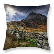 East Face Tryfan Snowdonia Throw Pillow