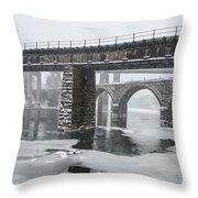 East Falls - The Frozen Schuylkill River Throw Pillow