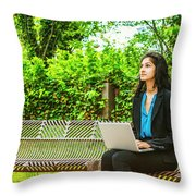 East Indian American College Student Throw Pillow