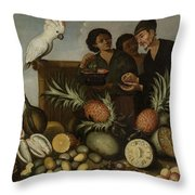 East Indian Market Stall In Batavia, Albert Eckhout, 1640 - 1666 Throw Pillow