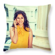 East Indian Woman Calling Outside Throw Pillow