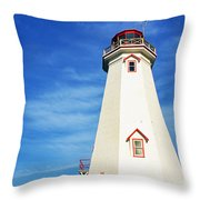 East Point Lightstation Prince Edward Island Throw Pillow