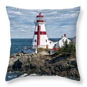 East Quoddy Lighthouse Throw Pillow