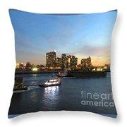 East River Traffic New York Throw Pillow