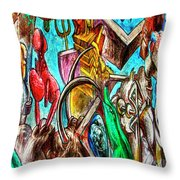East Side Gallery Throw Pillow by Joan Carroll