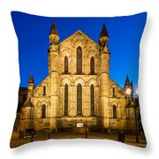 East Side Of Hexham Abbey At Night Throw Pillow