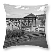 East St. Claire Covered Bridge Black And White Throw Pillow