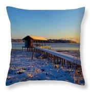East Texas Snow, Lake Bob Sandlin, Texas. Throw Pillow
