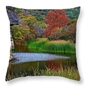 East Trail Pond At Lost Maples Throw Pillow