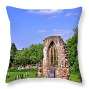East Window Remains Of Old Church At Ticknall Throw Pillow