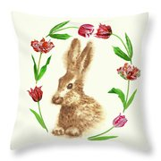 Easter Background With Rabbit Throw Pillow