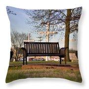 Easter Bench Throw Pillow