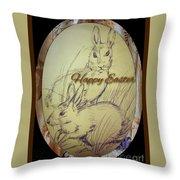 Easter Bunny  Greeting 5 Throw Pillow