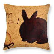 Easter Golden Egg And Chocolate Bunny Throw Pillow