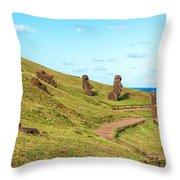Easter Island Moai At Rano Raraku Throw Pillow