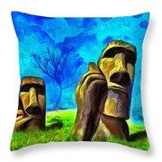 Easter Island - Van Gogh Style - Pa Throw Pillow