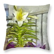 Easter Lily And Doll Throw Pillow