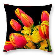 Easter Tulips And Roses Throw Pillow