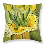Easter Tulips Throw Pillow by Maria Langgle