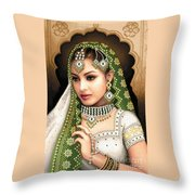 Eastern Beauty In Green Throw Pillow