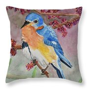 Eastern Bluebird Vertical  Throw Pillow