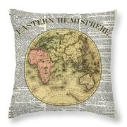 Eastern Hemisphere Earth Map Over Dictionary Page Throw Pillow