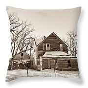 Eastern Montana Farmhouse Sepia Throw Pillow