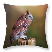 Eastern Screech Owl Red Morph Profile Throw Pillow